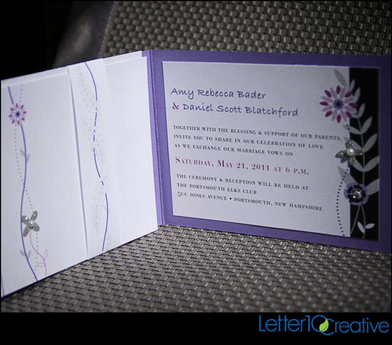 Purple, Black & Bling Wedding Invitations by Vermont Graphic ...