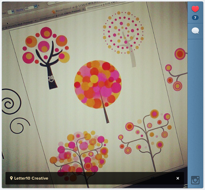 Instagram screen shot of modern trees for wedding invitation design