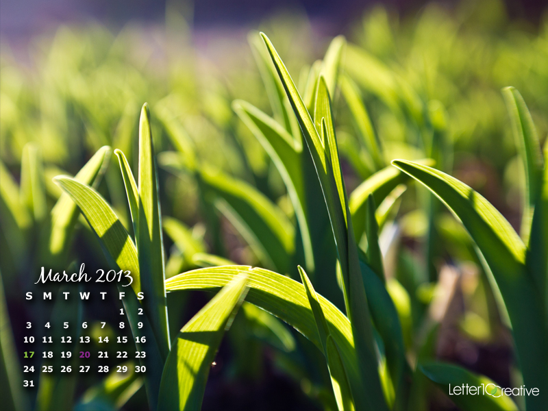 Free March 2013 Desktop Calendar Download