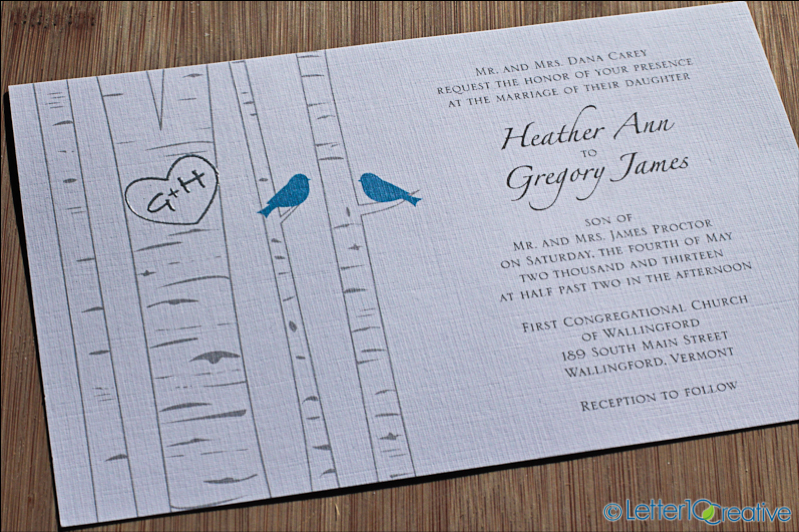 Birch and bird themed wedding invitations blue and silver