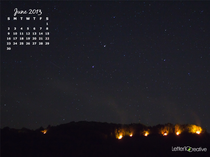 June 2013 Free Desktop Calendar of RockFire Vermont