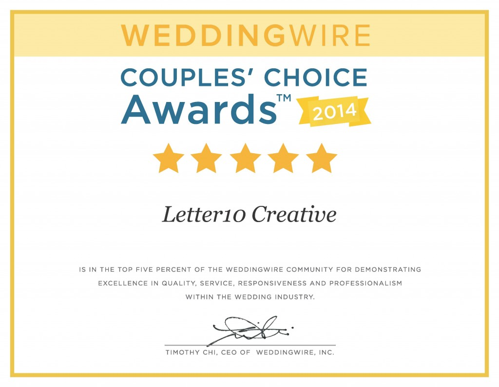 Recognition, Letter10 Creative wins 2014 Weddingwire Bride\'s Choice ...