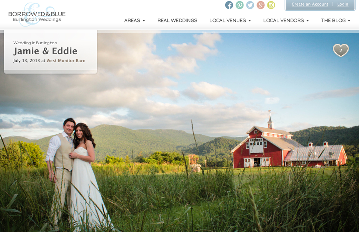 West Monitor Barn Wedding published in Borrowed and Blue