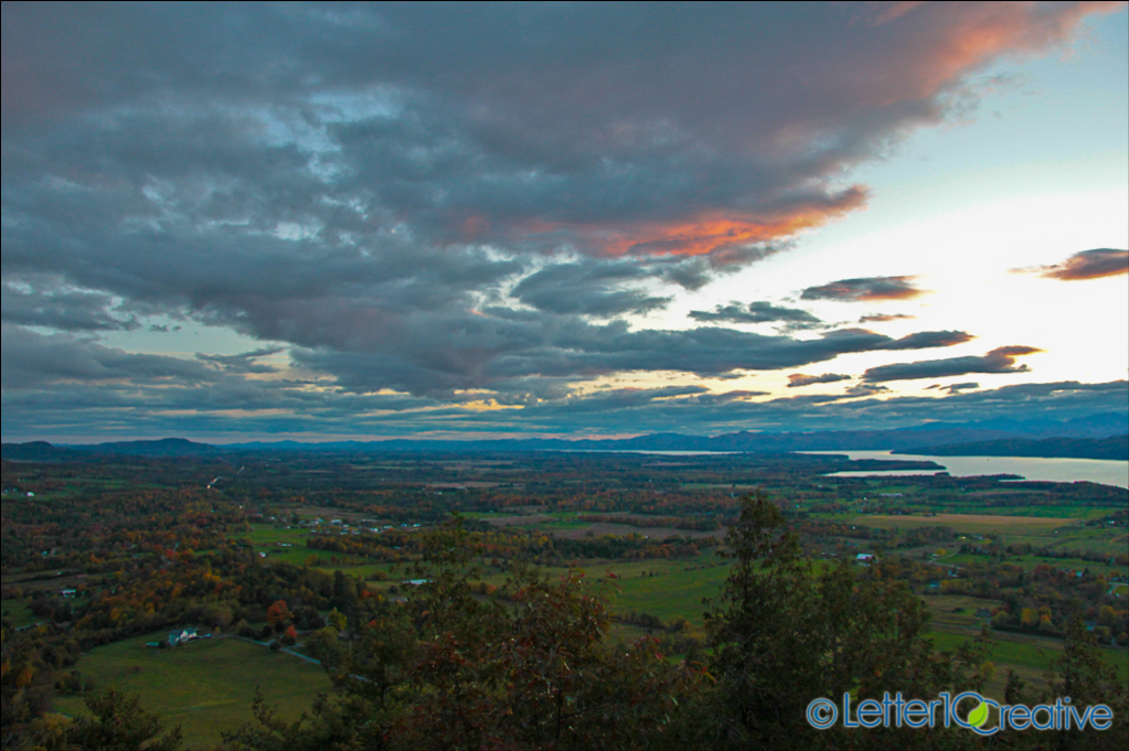Sunset view from Mount Philo in Charlotte Vermont during fall foliage
