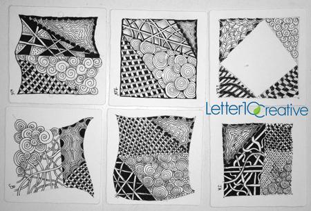 Zentangle Tiles from Class - CZT from Vermont