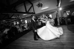 first dance wedding reception black and white at Jay Peak in Vermont