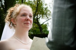 Emotional bride from candid wedding photographers in Bomoseen Vermont