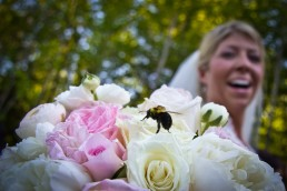 bee lands on bride's bouquet at Stowe wedding ceremony