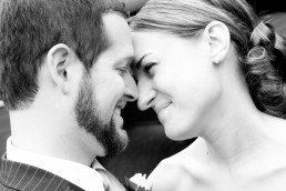 black and white closeup of couple wedding portrait in New Hampshire