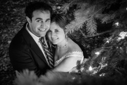 black and white portrait of winter wedding couple in Brandon Vermont