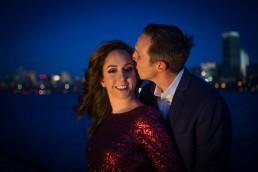 evening engagement portrait with boston skyline