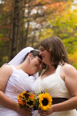 Fall gay wedding portrait at Moosemeadow Lodge in Vermont