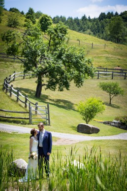Environmental wedding portrait candid in Sharon Vermont