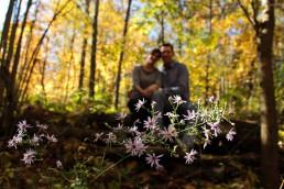 engagement portrait fall flowers on mount philo vermont