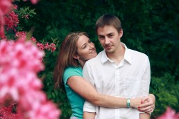 engagement portrait captured in stowe vermont with flowers