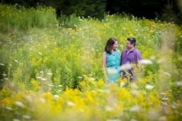 engagement portrait in montpelier vermont flower field