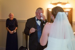 Dad's first look at bride emotional and candid wedding at The Ponds in Vermont
