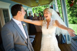 excited bride at first look wedding in stowe, Vermont