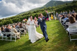 jay peak wedding couple just married recessional