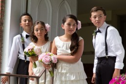kids at wedding ceremony awaiting to see bride in Richmond, Vermont
