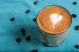 an image of coffee with heart product branding for 3 Squares Cafe