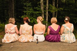 Relaxed bridesmaids and beers awaiting ceremony in Montpelier, Vermont
