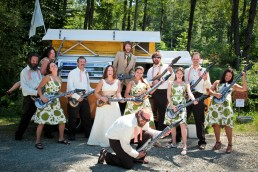 Wedding party with instruments fun wedding bridal party at Sleepy Hollow in Vermont