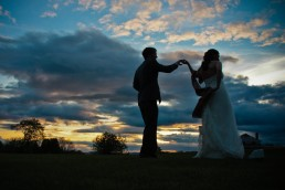 First dance silhouetted in Sunset in New Hampshire