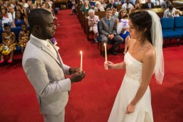 Vermont church wedding with black couple candlelit ceremony in Montpelier