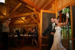 Introduction to wedding ceremony in New Hampshire Barn