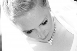 black and white closeup of bride getting ready portrait in Burlington, Vermont