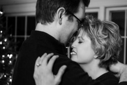 black and white engagement portrait close up in vermont