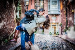 boston engagement session dip on acorn street with snow