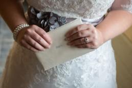 Boyden Farm wedding details, bride and a handwritten note