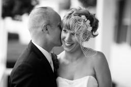 Black and white candid wedding portrait taken at Echo Lake Inn in Vermont