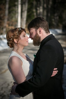 Woodsy winter wedding in Maine by Vermont Wedding Photographers