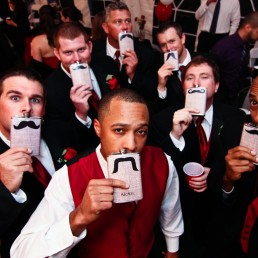 Custom wedding flasks with mustaches and groomsmen in Vermont