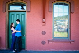 engagement portrait with neat architecture in waterbury vermont