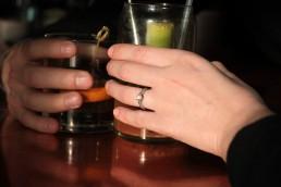 cheers engagement portrait in burlington vermont
