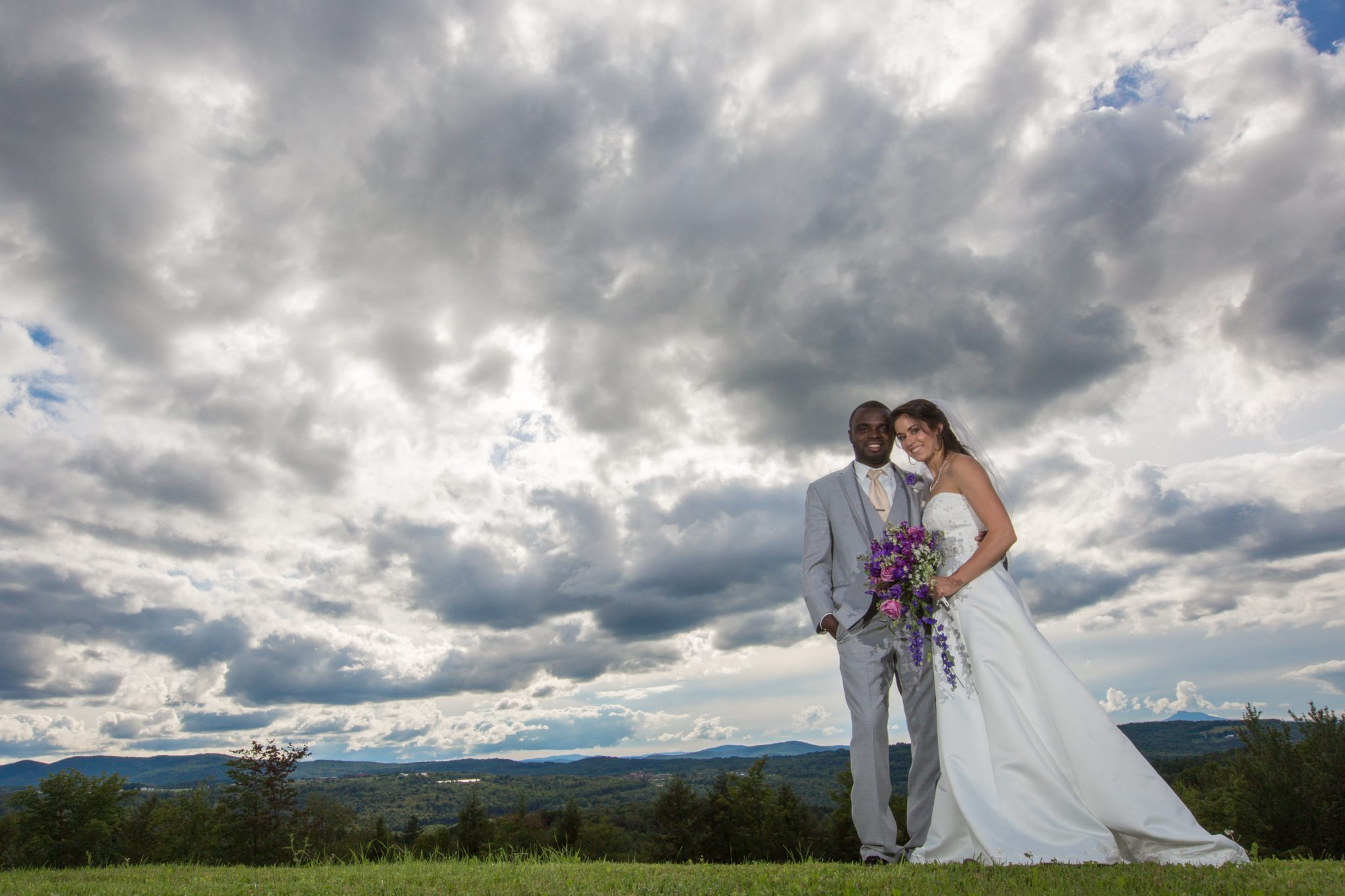 Epic clouds and wedding portrait with black couple in Barre, Vermont