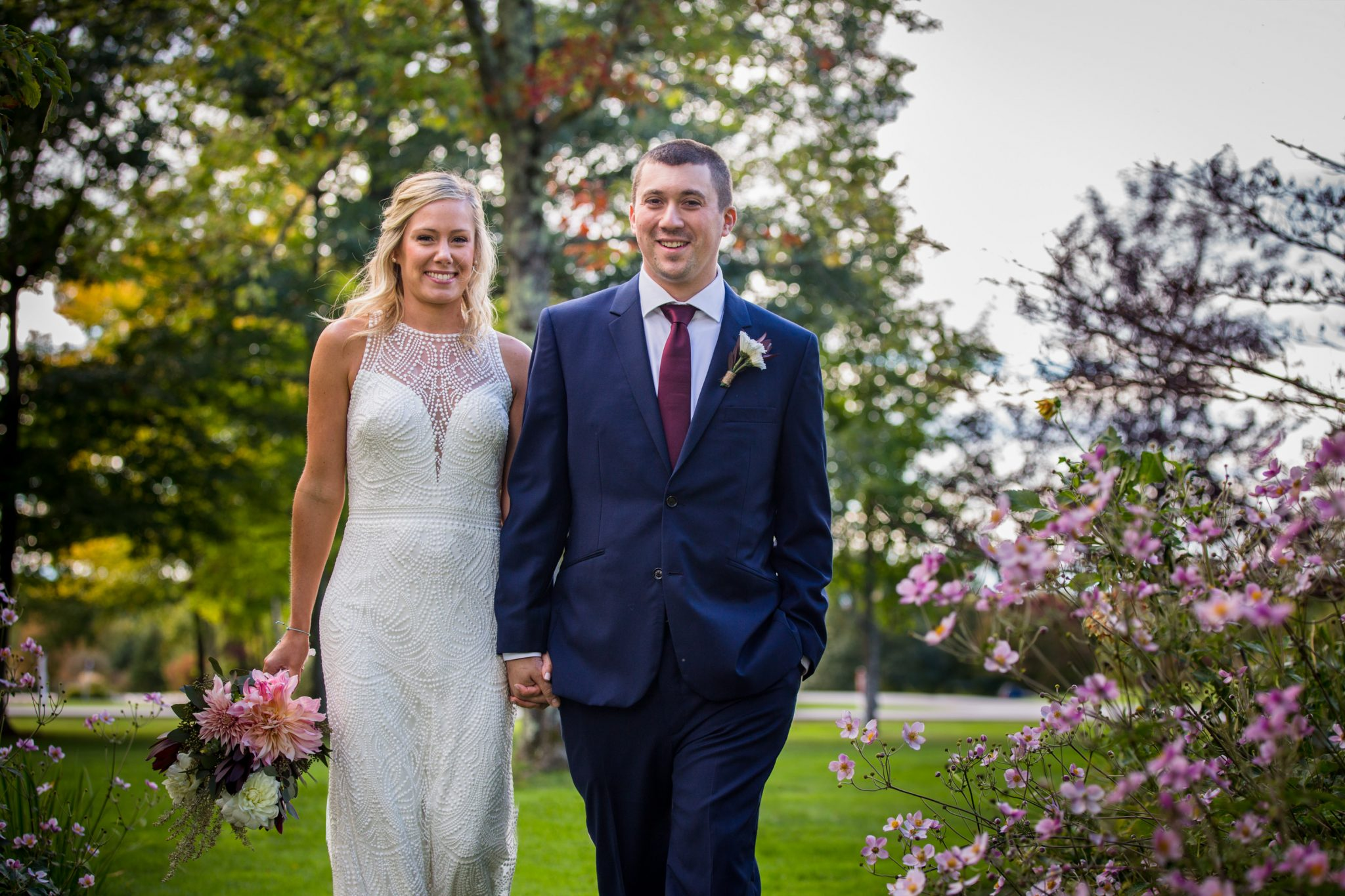 Fall garden wedding portrait of couple at Essex Resort and Spa in Vermont