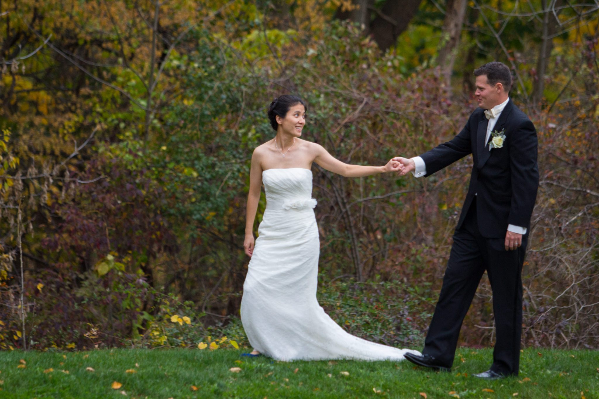 fall walking wedding portrait by Vermont wedding photographers
