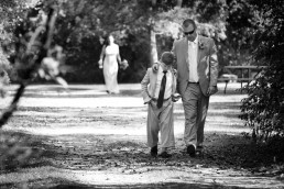 Father and son moment in black and white at Button Bay wedding