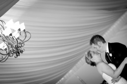 first dance at Mountain top wedding black and white image