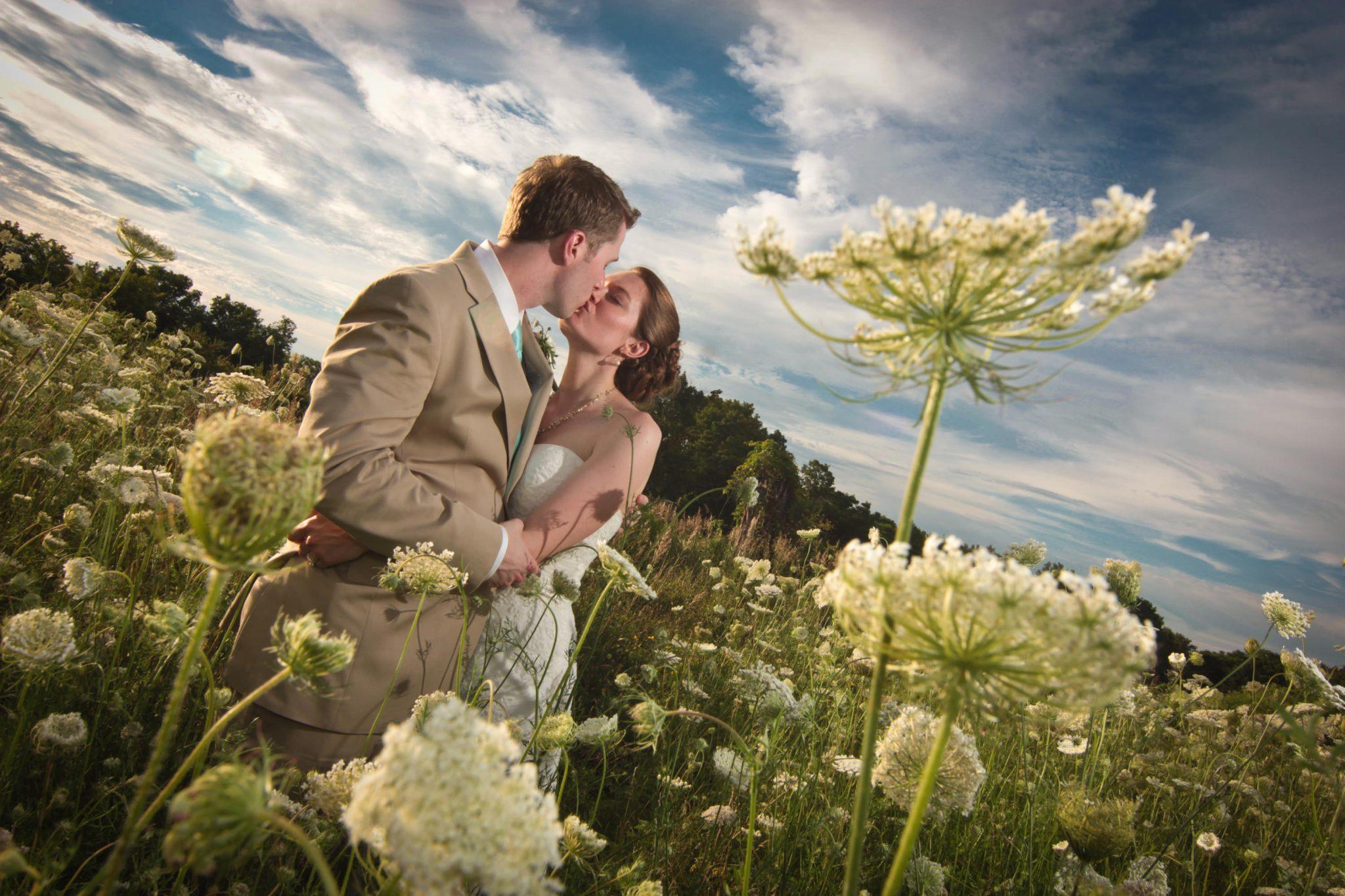 summer wedding portrait featuring wildflower field at The Iron Lantern in Vermont