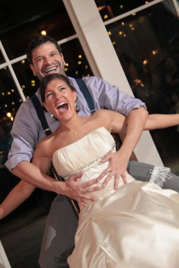 Fun wedding dancing with bride at Mountaintop Inn in Chittenden