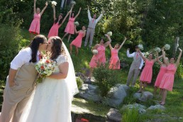 fun gay wedding party group portrait at sleepy hollow in Vermont