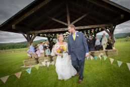Just married recessional at Boyden Farm in Cambridge, Vermont