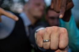 Grooms ring with best men
