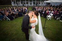 Just married candid ceremony moment by Vermont wedding photographers